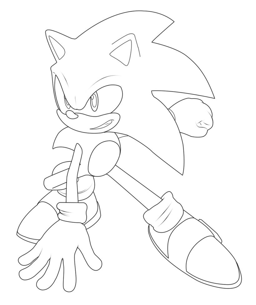 sonic the hedgehog outline by MaximilianK1