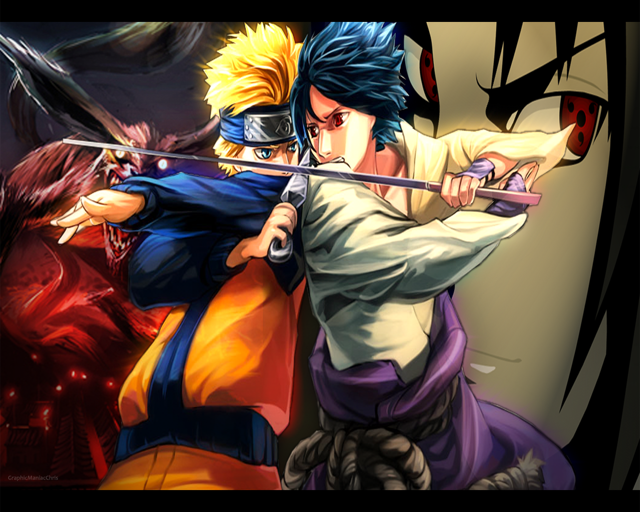 Simple Wallpaper Naruto Good - best_friends___naruto_v_sasuke_by_graphicmaniacchris  Graphic_535480.png