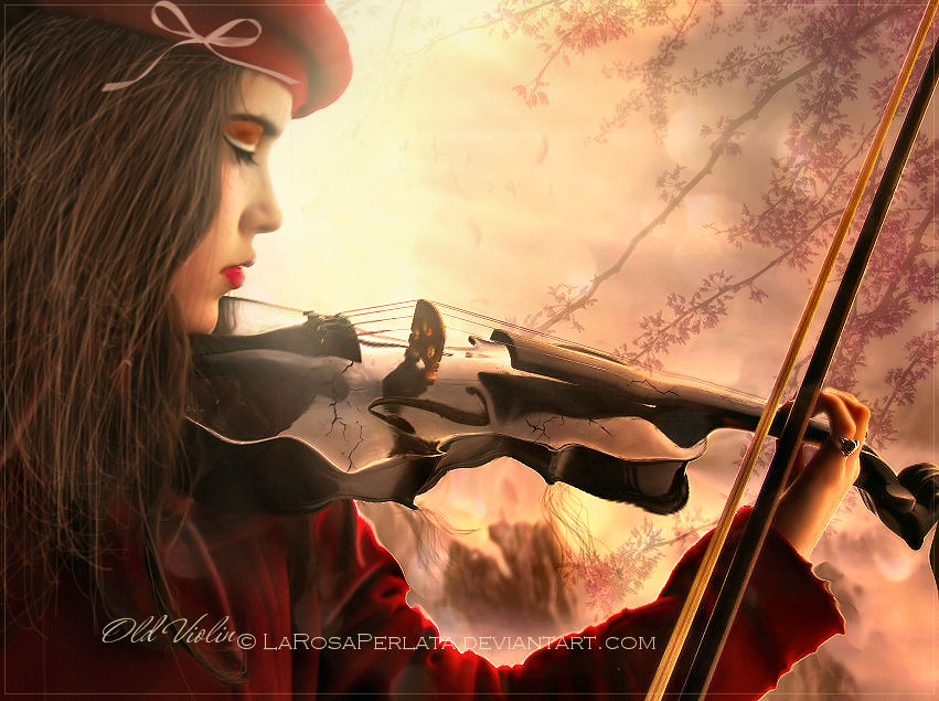 .Old violin.