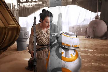 Rey and BB-8 by dekstiles
