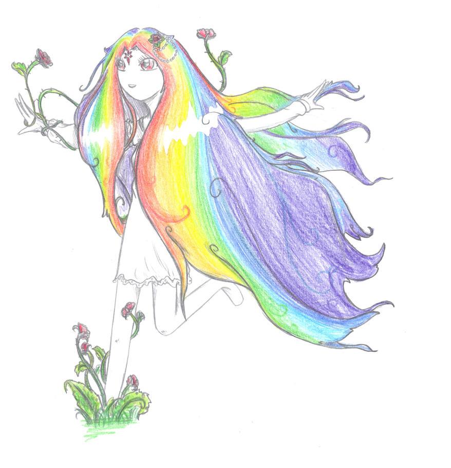Rainbow hair by Azelforest