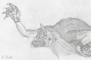Messy Sketch Cartoony Beast TF by DanteVergilLoverAR