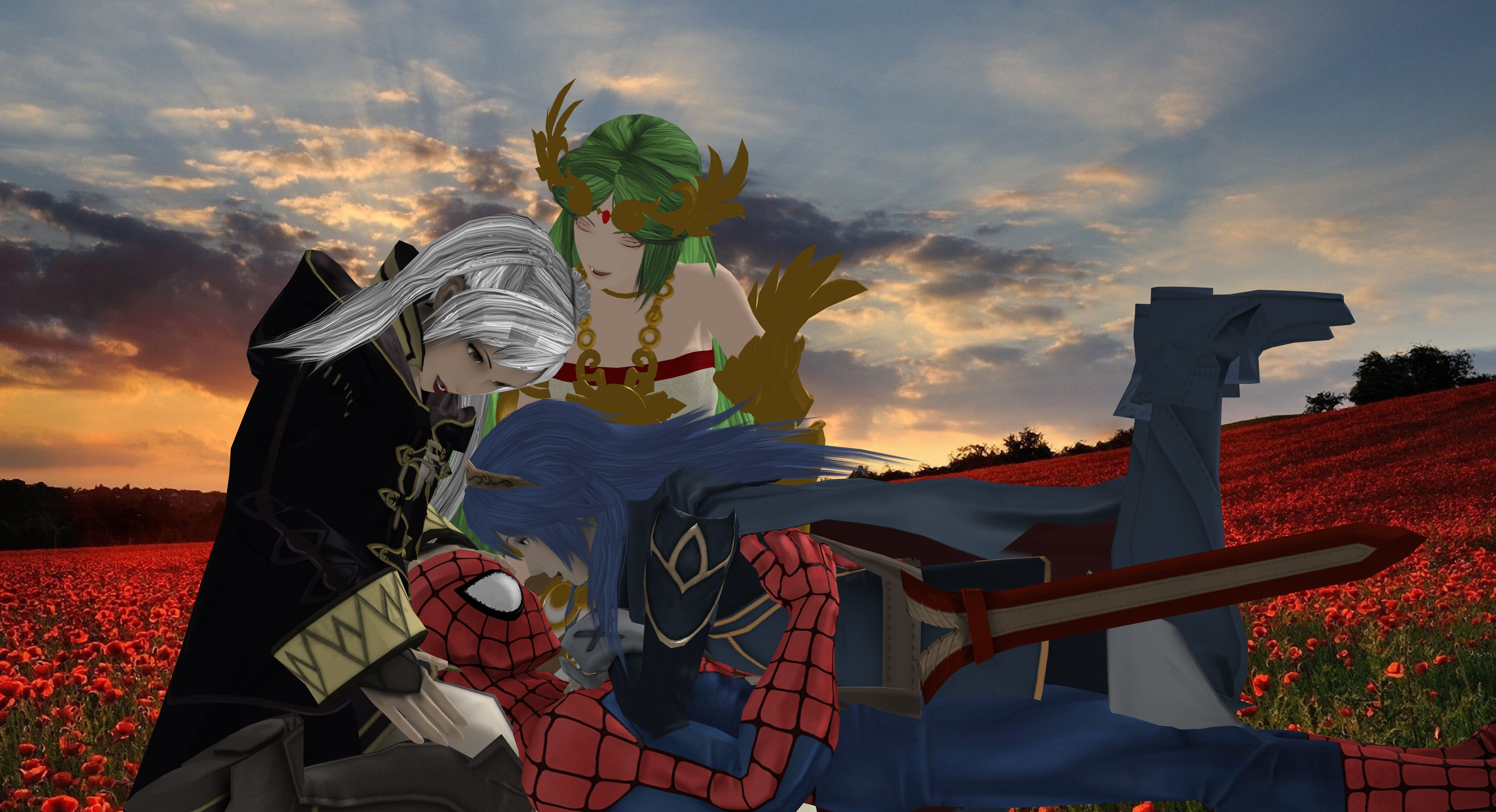 Robin, Palutena and Lucina with Spider-Man by ...