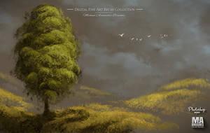 Photoshop Realistic Oil Painting Foliage Brushes by MichaelAdamidisArt