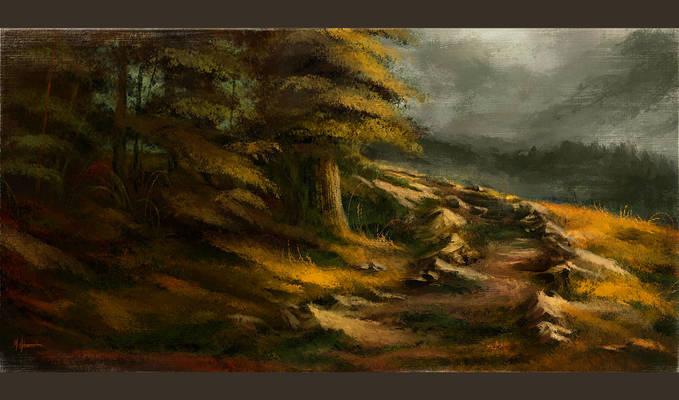 Walk by Night - Digital Landscape/Scenery Painting