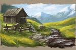 Digital Landscape Oil Painting -Barn- Digital ART