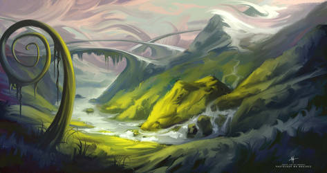 Concept Art Landscape Scenery Painting by Michael