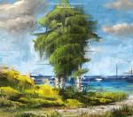 Digital Oil Painting - Seaside by Michael Adamidis
