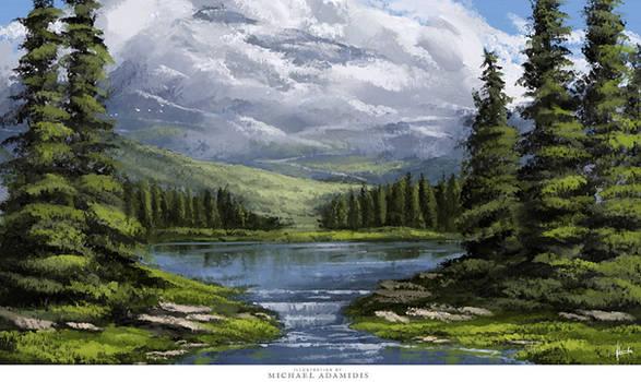 Digital Bob Ross Painting - by Michael Adamidis