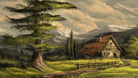 Old Big Barn - Digital Landscape OIL ART Painting by MichaelAdamidisArt