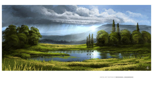 Digital Painting Walk by the Lake M. Adamidis