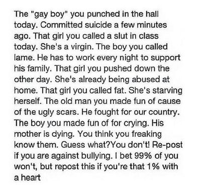 Spread the word, bullying is wrong by FoxyPirate56912