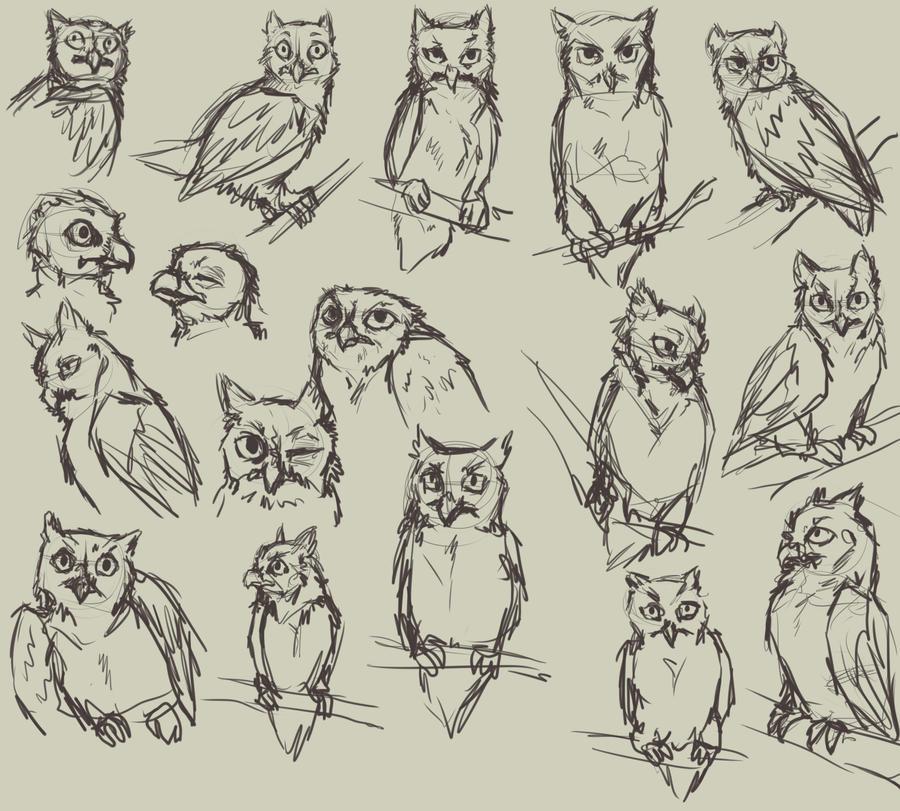 Owl practice by HereLiesDeadSquirrel