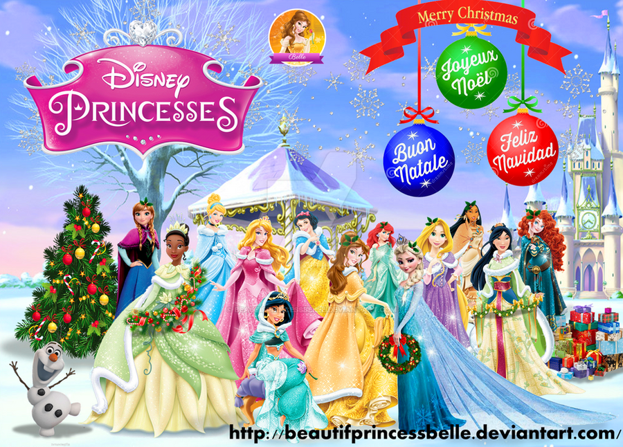Disney Princesses - Merry Christmas by BeautifPrincessBelle
