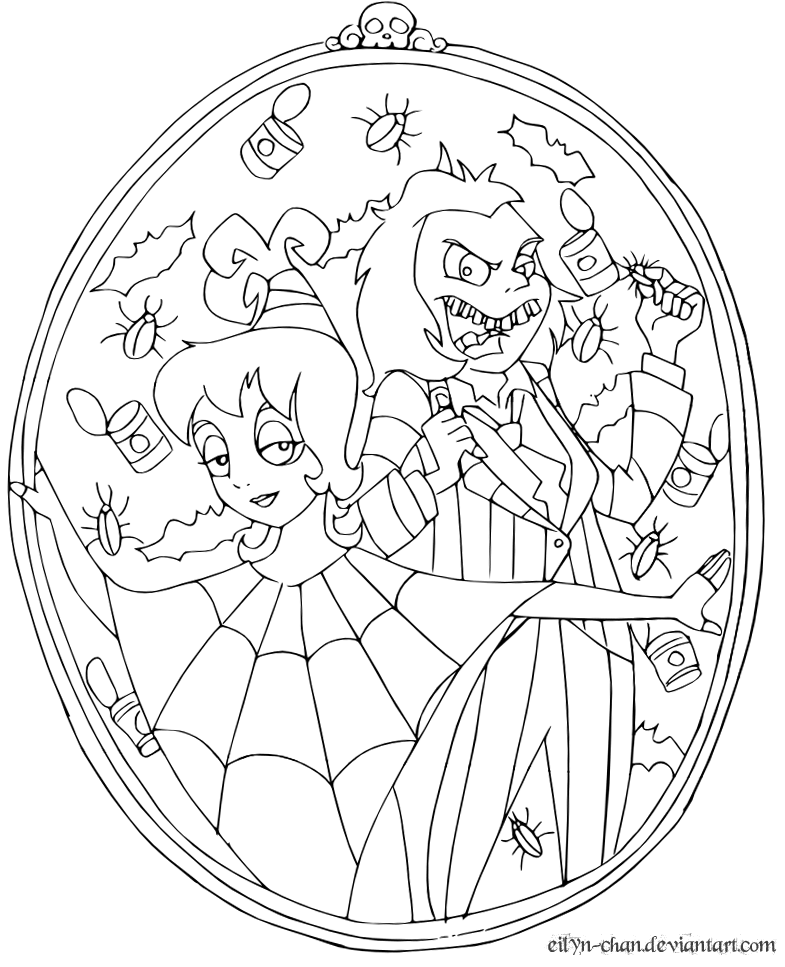 Beetlejuice and lydia vector by eilyn chan on deviantart for Lydia coloring page