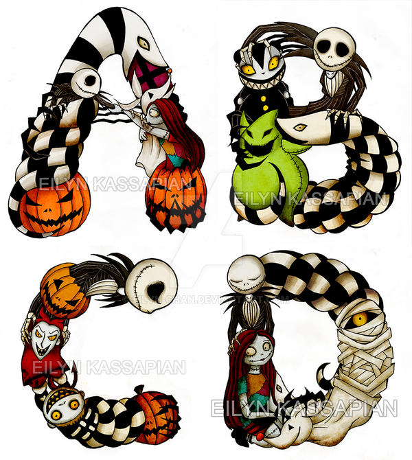 The Nightmare Before Christmas Font Process By Eilyn