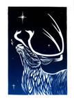 Reindeer Linocut Holiday Card