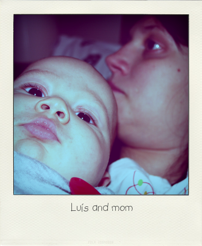 Luis and mom - polaroid style