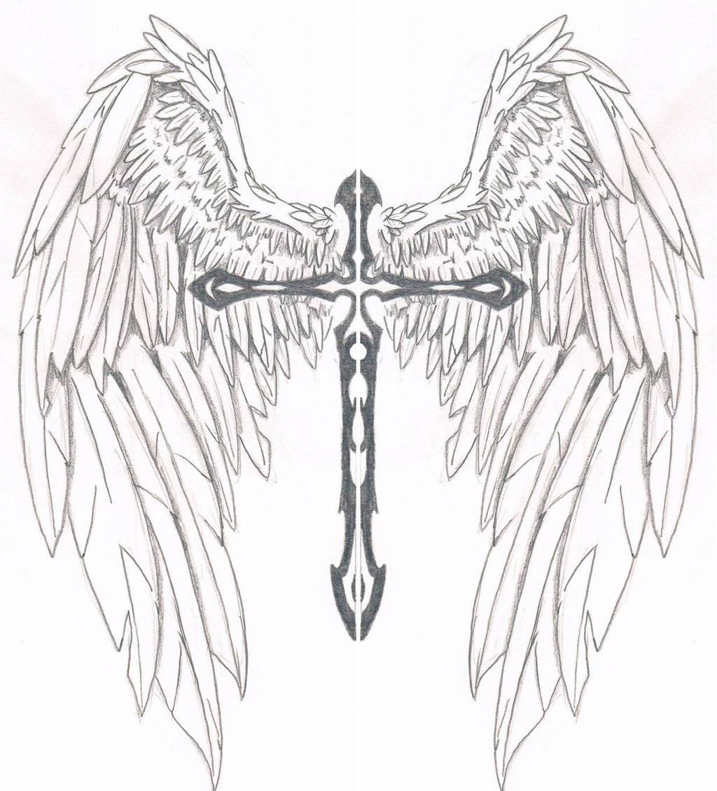 Cool Drawing Of Crosses With Wings