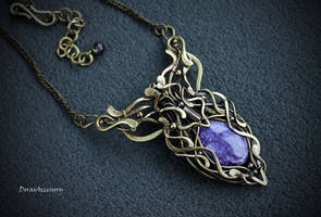 Brass necklace with charoite by MDorothy