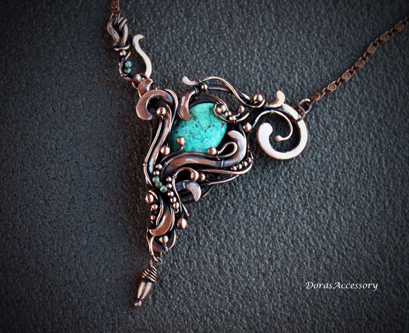Necklace with chrysocolla by MDorothy