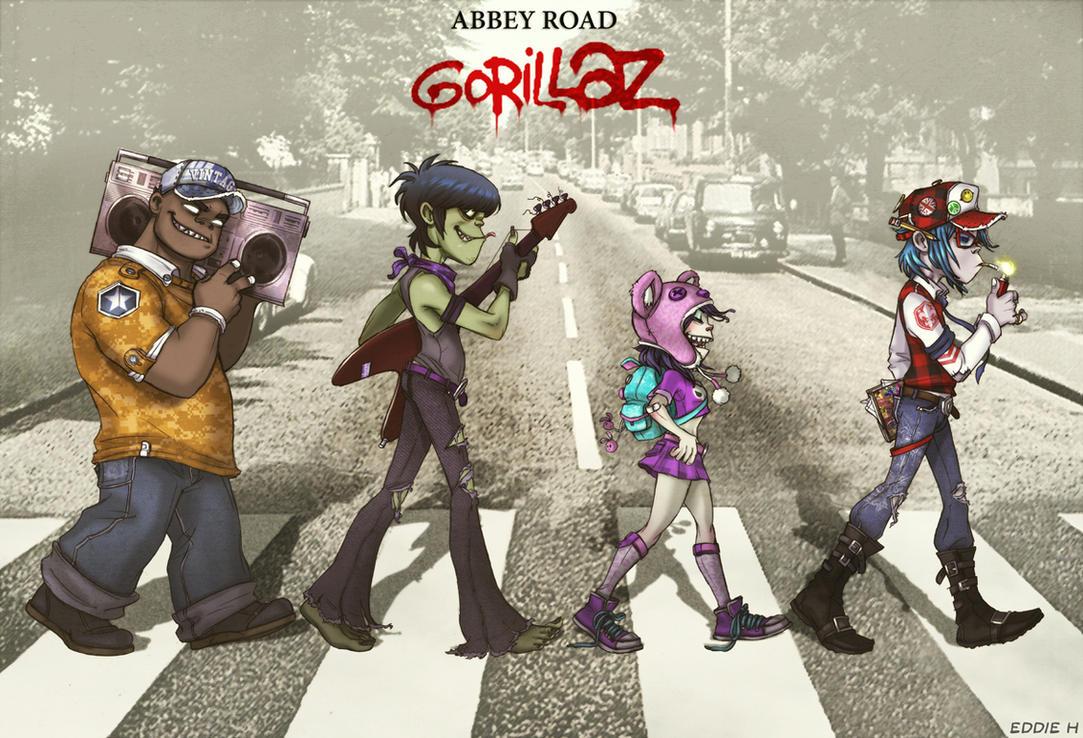 Gorillaz on Abbey Road by EddieHolly