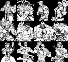 Street Fighter 2 Line Up Inks by EddieHolly