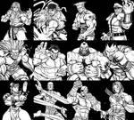 Street Fighter 2 Line Up Inks