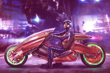 Art3mis Loves her Bike - Ready Player One by EddieHolly