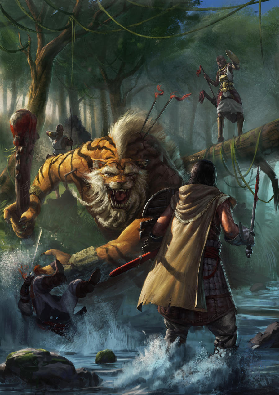 Galeria de Arte: Ficção & Fantasia 1 - Página 5 Jungle_skirmish_by_mischeviouslittleelf-d4a9vgn