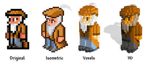 Terraria Merchant: original, isometric, voxel, 3D