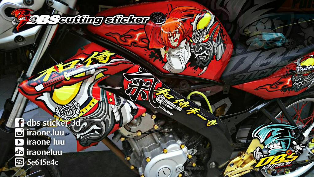 Cutting sticker 3d yamaha old vixion samurai x by iraoneluu