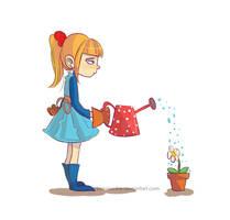 watering a flower by bonnieefire