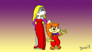 Conker and Berri as Roger and Jessica Rabbit