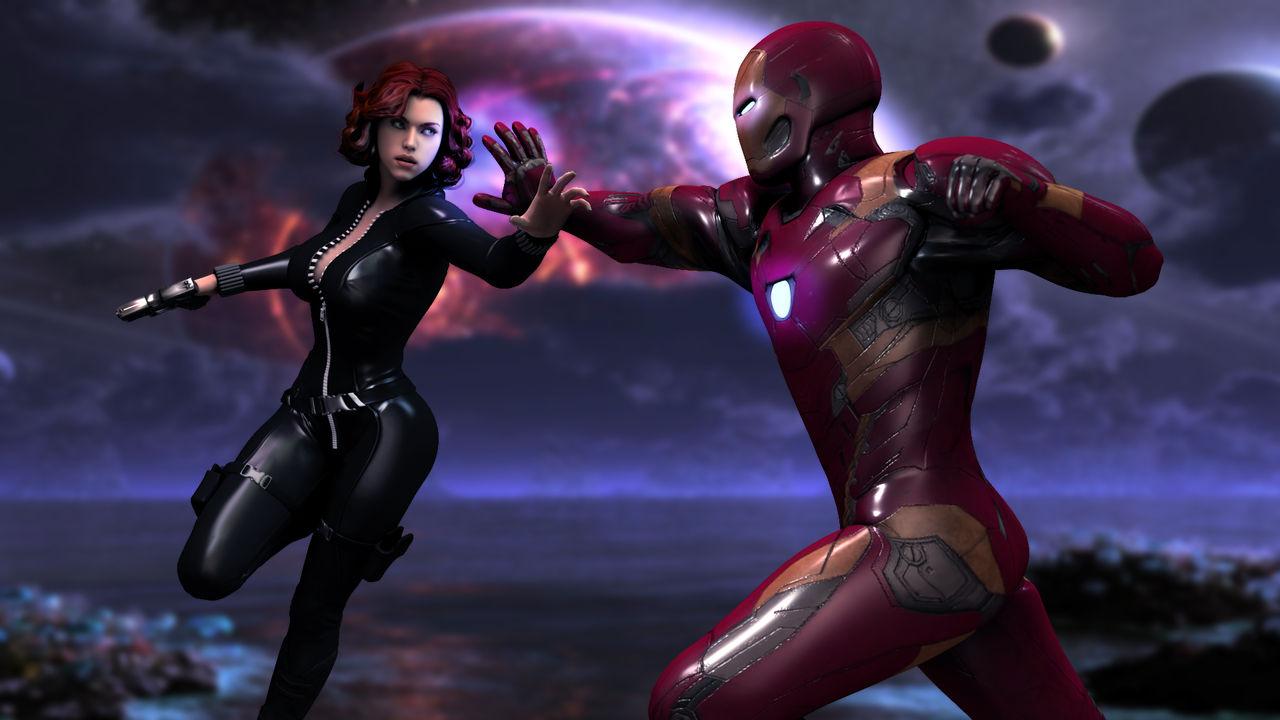 Black Widow Vs Iron Man By Agnosart On Deviantart