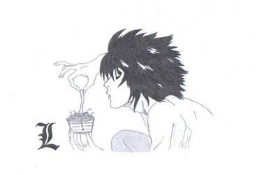 L , Ryuzaki drawing by Beyourselfmert