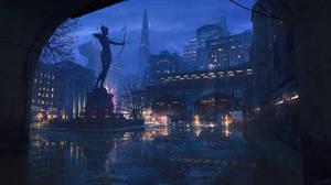 Rainy Scifi City Sketch