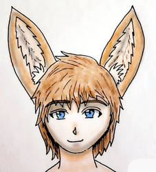 Headshot of a cute Fennec Foxboy