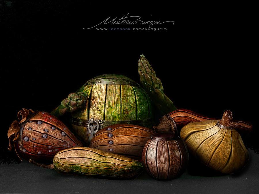 Wood fruits by Rungue