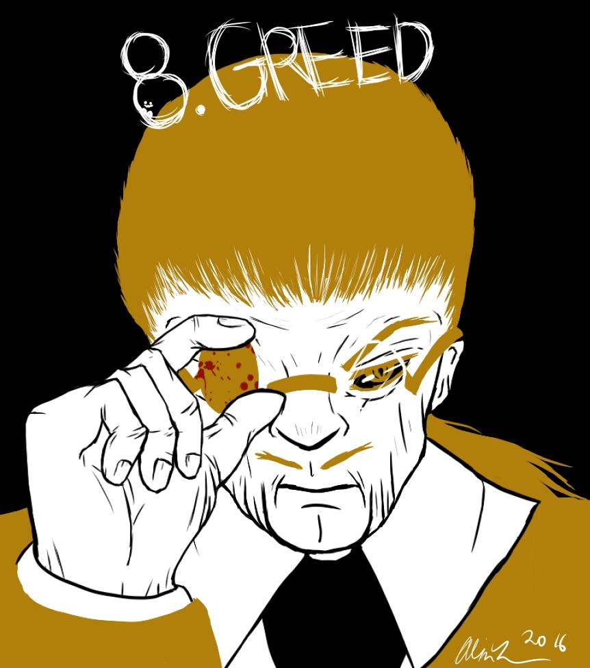 Inktober 8: Greed by artisticallystrange