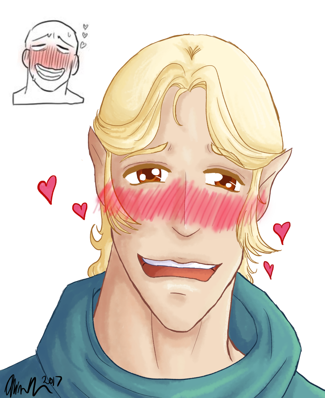 2B (Blush Faces): Danerean for Lear-Is-Not-Amused by artisticallystrange