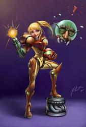 Metroid - Samus Aran Cartoon by KimiSz