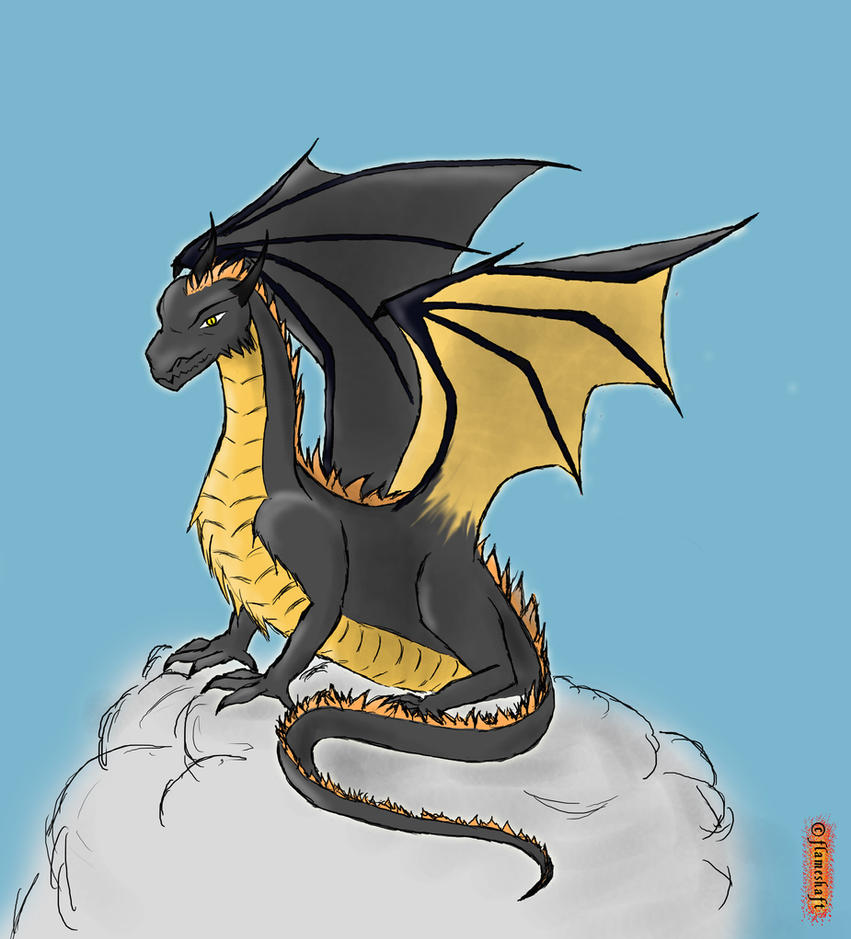 Black and Gold Dragon by flameshaft