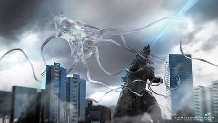 Godzilla x Dogora by dopepope