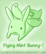 Flying Mint Bunny Avatar by CardboardRemains