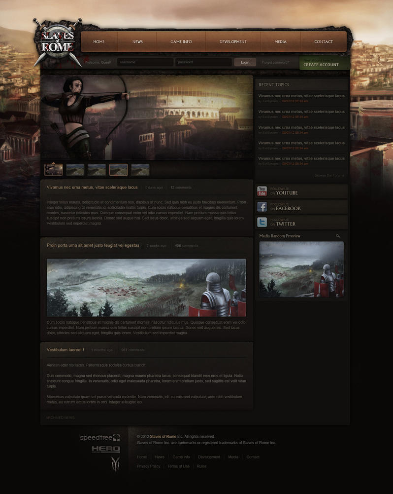 Slaves of Rome - Web design by Evil-S