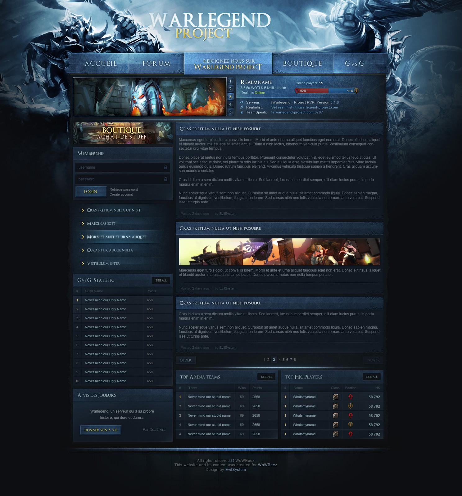 Warlegend Project - WOTLK Web Design by Evil-S