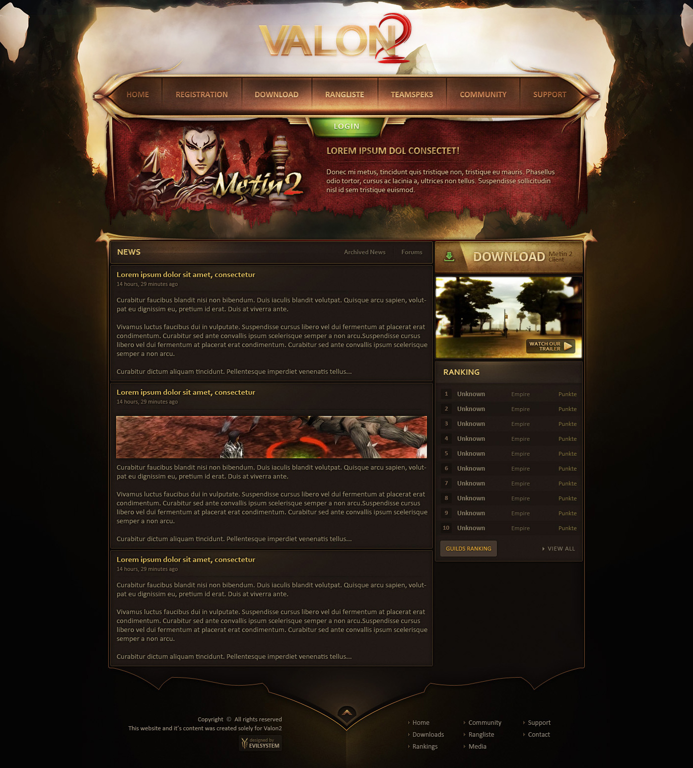 Valon2 - Metin2 Web Design by Evil-S