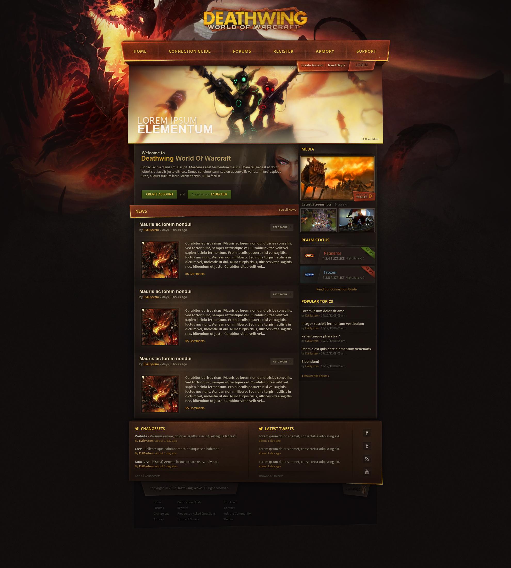 Deathwing WoW Webdesign