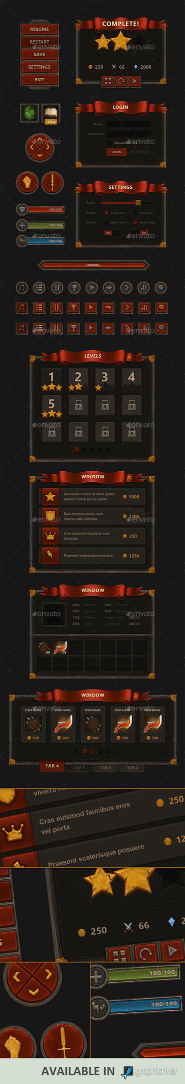 Fantasy Mobile Game Interface by Evil-S